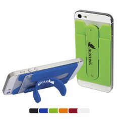 Silicone pocket with one-touch instant stand snap. Removable 3M™ adhesive sticks to the back of your mobile phone  Holds credit cards, driver's license, hotel room keys, stylus, coins or other small personal items