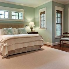 Benjamin Moore Palladian blue said to be the most beautiful color as it changes with the angle of the light all day long. It is peaceful, flattering and not pastel. Its a grayed down, robin's egg blue.