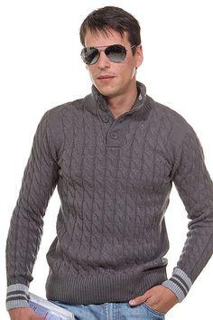Hand Knit Men's Polo sweater turtleneck v-neck men