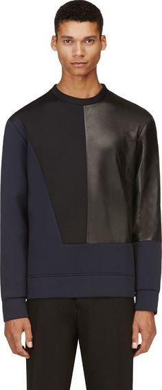 Costume National Navy & Black Neoprene Pullover