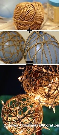 Lantern DIY: Let there be light! - Splash of Something Twine Lanterns – DIY Garden Lighting Ideas. / Cordéis Lanterns – Bricolagem Jardim idéias d Outdoor Christmas Decorations, Diy Wedding Decorations, Decoration Party, Christmas Garden, Christmas Diy, Christmas Pictures, Christmas Lights, Decor Crafts, Diy Crafts