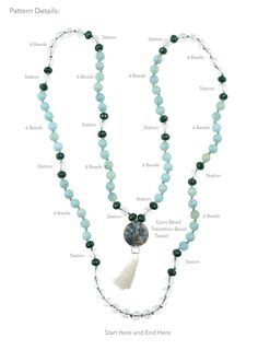 New diy jewelry making free pattern beads tutorial ideas Diy Necklace, Stone Necklace, Necklace Ideas, Yoga Jewelry, Jewelry Crafts, How To Make Necklaces, Prayer Beads, Prayer Bead Necklaces, Diy Schmuck