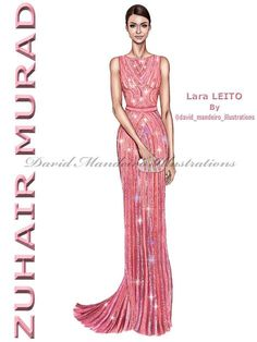 Lara Leito in ZUHAIR MURAD   collection at the  party.   by David Mandeiro Illustrations     Frock Fashion, Fashion Line, Diy Fashion, Fashion Models, Fasion, Fashion Design, Fashion Illustration Poses, Illustration Mode, Fashion Illustrations