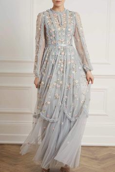 Discover embellished, embroidered & lace dresses at Needle & Thread, fit for every occasion. Shop embroidered floral gowns, sequin embellished dresses and more. Hijab Gown, Kebaya Hijab, Hijab Dress Party, Kebaya Dress, Dress Pesta, Hijab Outfit, Dress Brukat, Lace Dress, Dress Brokat Muslim