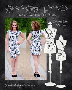 The Vacation Dress (Women's Sizes) PDF Sewing Pattern by GeorgeandGingerCo on Etsy https://www.etsy.com/listing/293089091/the-vacation-dress-womens-sizes-pdf