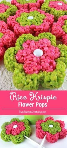 colorful and fun Rice Krisipe Flower Pops are adorable, delicious and are a . - Rice Krispie Treats -Our colorful and fun Rice Krisipe Flower Pops are adorable, delicious and are a . Rice Krispy Treats Recipe, Rice Crispy Treats, Krispie Treats, Yellow Foods, Pink Foods, Reis Krispies, Pink Food Coloring, Great Desserts, Camping Desserts