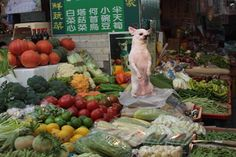 Vegetable market in Taiwan.
