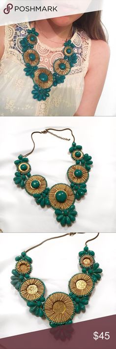 Huge Boho Statement Necklace such a great piece! huge, perfect condition. gr8 for that cute boho chic who has a hangin jewelry collection, or for that hip suburban mom lookin to spice things up. luv y'all bye (ps not vintage, brand unknown) Vintage Jewelry Necklaces