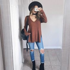 20 Cute Outfits With Black Ankle Boots To Copy Cute Women casual winter outfits Glamouröse Outfits, Tumblr Outfits, Casual Outfits, Outfits With Hats, Winter Outfits Tumblr, Travel Outfits, Fashion Outfits, Casual Clothes, Fashion Clothes