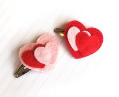 Red and Pink Heart hair clips (Valentines Day, February) $8.00 Etsy