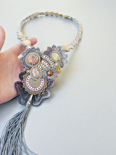 Boho long necklace. Glamour soutache necklace. Unique gift for her, gray statement jewelry, lace flashy necklace.