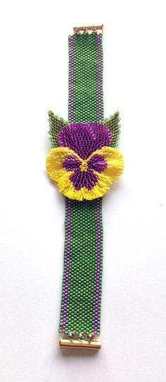 Beaded Pansy Bracelet using peyote and brick by BeadifulByJill