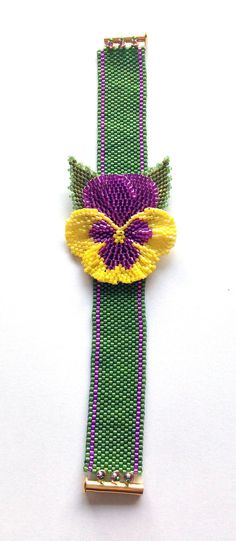 Beaded Pansy Bracelet using peyote and brick by BeadifulByJill
