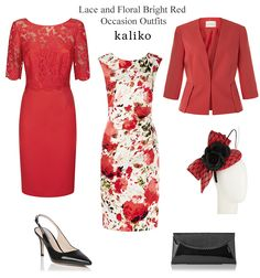 kaliko red occasion outfits lace top dress with short sleeves and printed shift sleeveless dresses and matching tailored jacket
