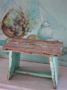 Small Wooden Stool in from Chez Zoe