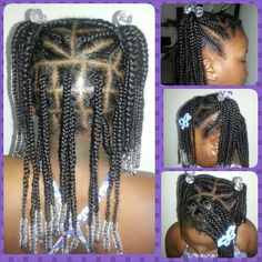 Natural girls style pigtails cornrows box braids and beads