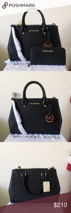 NWT Michael Kors Sutton Satchel Medium Set Classic and beautiful set! Black Saffiano leather with gold detailing. Goes well with everything. Authentic.  The Sutton Satchel is in medium size, has a long strap. New with tags. The bottom feet has very light scratches from storage.  Wallet shows very minor wear on the hardware, other than that I really good condition.  Measurement: 12*9*4 inch  Dust bag is included. Makes a great gift. Michael Kors Bags Satchels