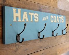 Blue Coat Hook Rail Hand Painted Hats and Coats 4 x Hooks