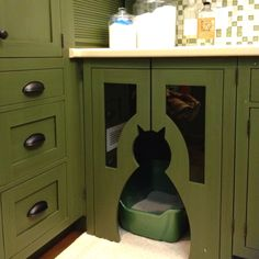 Cat litter box built into the Laundry Room cabinetry with it's own light and vent.