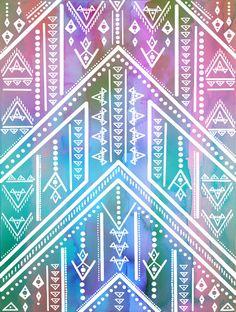 Boho Soul Art Print by Schatzi Brown | Bohemian Watercolor Tribal Pattern | Background Design | Wallpaper