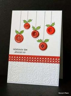 Button Christmas Cards, Christmas Cards Handmade Kids, Simple Christmas Cards, Beautiful Christmas Cards, Christmas Card Crafts, Button Cards, Homemade Christmas Cards, Homemade Cards, Christmas Card Making