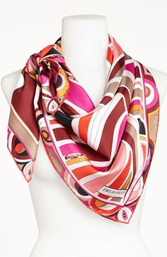 Emilio Pucci 'Leaf Profile Timeless' Silk Scarf available at #Nordstrom #Pucci