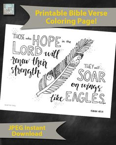 Bible Verse Coloring Page Isaiah 40:31 by FarBetterThings0 on Etsy
