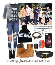 """""""Janoskians"""" by mati1d ❤ liked on Polyvore featuring Cheap Monday, maurices, Timberland, Wet Seal, Lauren Ralph Lauren, Love Moschino, Forever 21, Hot Topic and Essie"""