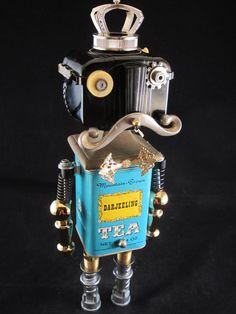 King Tea Bot - found object robot sculpture assemblage by Cheri Kudja with Bitti Bots $250