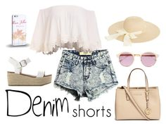 """""""Summer's here."""" by liebelievedie ❤ liked on Polyvore featuring Michael Kors, Steve Madden, Sheriff&Cherry, Oasis, Samsung, jeanshorts, denimshorts and cutoffs"""