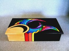 Items similar to unique rainbow color jewelry box rad gift box for dad signed creation home decor office decor office gift unique gift christmas gift on etsy - Painted Keepsake Box Art object Rainbow colors by IshiGallery - Painted Wooden Boxes, Painted Jewelry Boxes, Hand Painted, Painted Trunk, Wooden Jewelry, Articles En Bois, Gifts For Office, Art Object, Keepsake Boxes