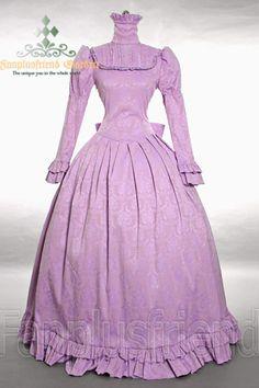 Elegant Gothic Severe High Collar Thick Floor length Dress