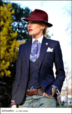I would probably do either the vest OR the jacket, and wouldn't do the hat, but I love this combination!