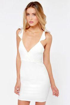 Bachelorette party dress Everyday I'm Rufflin' Ivory Bodycon Dress at Lulus.com!