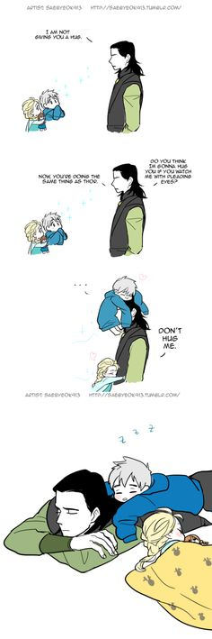 Jack Frost and Elsa wear down Loki. THIS IS ADORABLE. Although, I ship Jelsa so this does not imply that they are siblings,I am taking it as daycare for ice powered individuals and Loki is in charge. Hero Marvel, Loki Thor, Marvel Funny, Tom Hiddleston Loki, Marvel Memes, Marvel Avengers, Bd Comics, Marvel Comics, Pixar