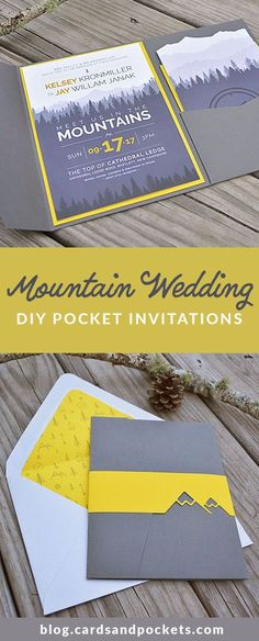 Super modern and fun DIY pocket invitation for a mountain or forest wedding. Using yellow and gray, iconography, and mountain illustrations. See how Kelsey created her DIY wedding invitations: http://blog.cardsandpockets.com/2017/06/22/my-diy-story-mountain-wedding-pocket-invitation/