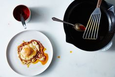 Canal House's Pimentón Fried Eggs Recipe on recipe on ***serve with CM olive bread Brunch Recipes, Appetizer Recipes, Breakfast Recipes, Breakfast Dishes, Yummy Recipes, Recipies, Fried Egg Recipes, Cooking Recipes, Food52 Recipes