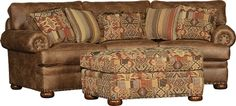 Mayo Furniture 7500 Fabric Conversational Sofa and Table Ottoman - Palance Pueblo