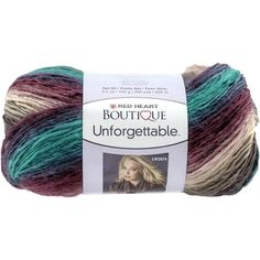 Red Heart Boutique Unforgettable yarn in Tealberry. This soft roving yarn has amazing colors and creates fantastic garments and accessories that look like they cost a fortune! Weight category: 4. Cont