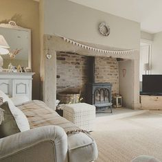 woodburner in stone inglenook style fireplace Cottage Living Rooms, Cottage Interiors, My Living Room, Home And Living, Living Room Decor, Shabby Chic Living Room, Inglenook Fireplace, Fireplace Hearth, Fireplaces