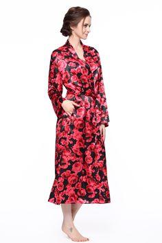 d49144607e CYWH Women s Long Classic Satin Kimono Lounge Bathrobe Robe (XXL