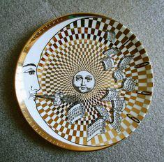 Ceramic Calendar-Plate-Piero-Fornasetti,-1999. in Gold, black and white