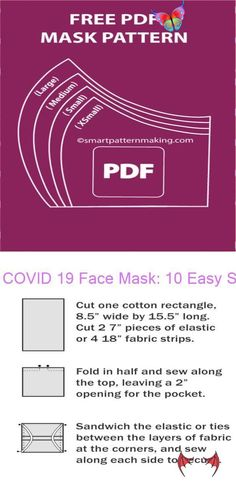 diy face mask sewing pattern COVID 19 Face Mask: 10 Easy Steps DIY Mask How to Sew a Surgical Face Mask for Hospitals - Free Pattern in 2020 | Sewing, Fabric strips, Diy fa<br>