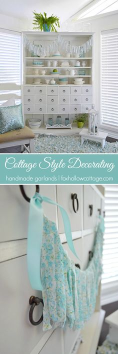 Cottage Style Decorating with Shabby Vintage Garlands - Fox Hollow Cottage