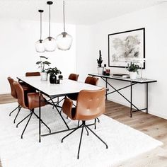 """HANDVÄRK (@handvark) på Instagram: """"Cognac coloured leather chairs looking beautiful with our white Dining Table 230 with black frame."""""""