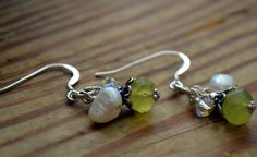 Day 10 in the 12 Days of Christmas Collection. Handcrafted Sterling Silver Freshwater Pearls Swarovski Crystal Faceted Green Czech Glass Dangle Earrings http://katiemdesigns.com/products/day-10-12-days-christmas-collection-handcrafted-sterling-silver