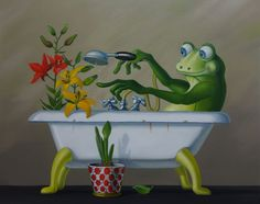 Funny Frogs, Cute Frogs, Frog Pictures, Frog And Toad, Splish Splash, Bathroom Art, Home Organization, Illustration, Character Design