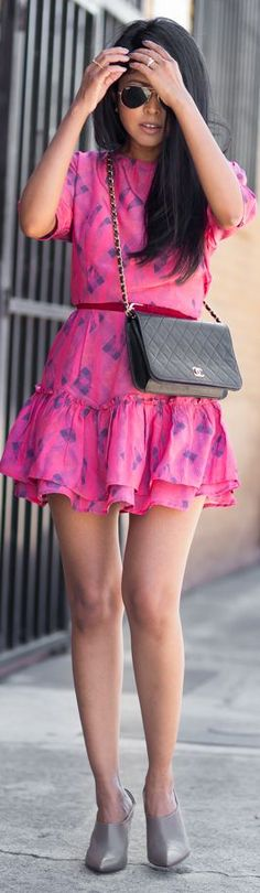 Sam & Lavi Pink Multi Shirred Drop Waist Skirt Mini Dress by Walk In Wanderland