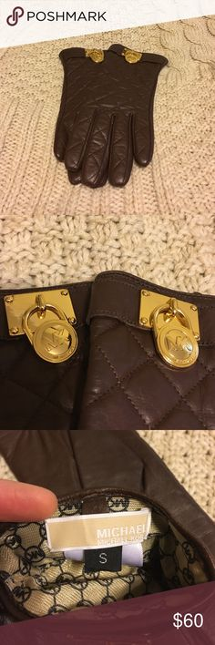 Michael Kors Women's Quilted Leather Lock Gloves Michael Kors Women's Brown Michael Quilted Leather Gold Lock Gloves. Size Small. Excellent condition, only worn a handful of times. MICHAEL Michael Kors Accessories Gloves & Mittens