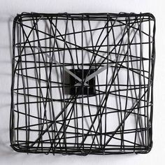 Wire-wrapped square clock. Wouldn't it be cool to have colored wire numbers wrapped in?